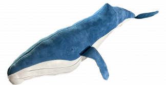 The Greenland Fishery's XL leather Humpback Whale is truly making a statement. This one's in blue soft suede leather
