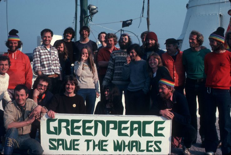 """Warrior crew holding banner """"Save the Whales"""", 1978"""