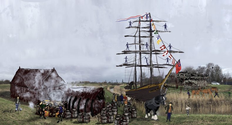 Ghost painting: The Nar, King's Lynn with whaling ship returns - royal yards aloft