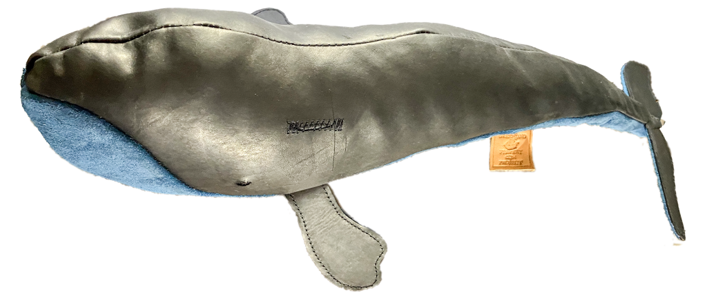 Greenland Right Whale in super-soft bright blue suede leather, with a beautiful black waxy upper.