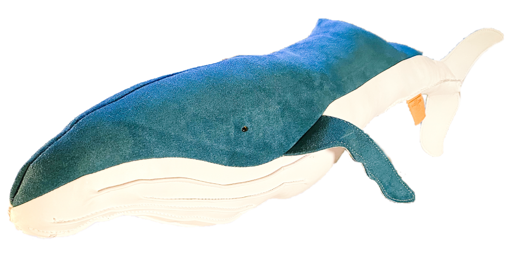 Blue suede leather humpback whale Made at The Greenland Fishery